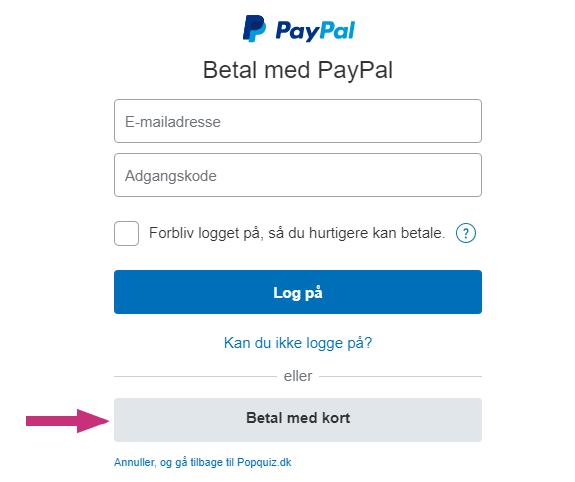 Betaling uden PayPal kontoNY